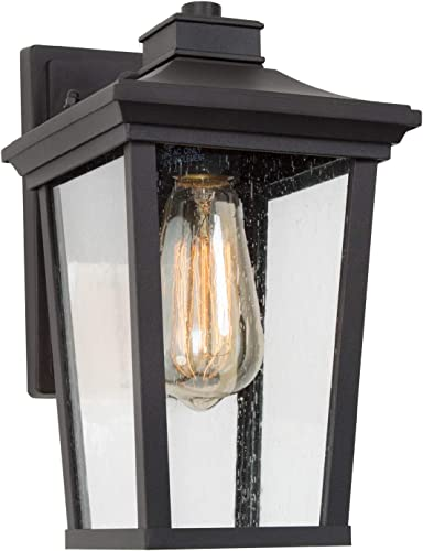 LALUZ Outdoor Porch Light Fixture Exterior Wall Sconce Lantern Mount with Seeded Glass for Patio, Balcony, Front Door, Entryway or Corridor Black Finish , A03319s