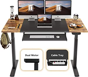 FEZIBO Dual Motor Height Adjustable Electric Standing Desk, 55 x 24 Inches Full Sit Stand Home Office Table with Splice Board, Black Frame/Rustic Brown and Black Top