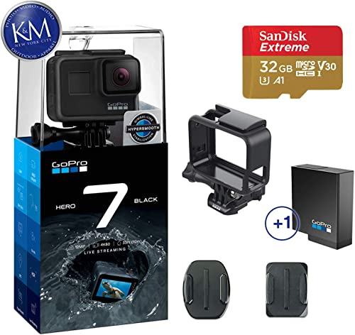GoPro Hero 7 Black Action Camera w Extra 1 Battery Bundle