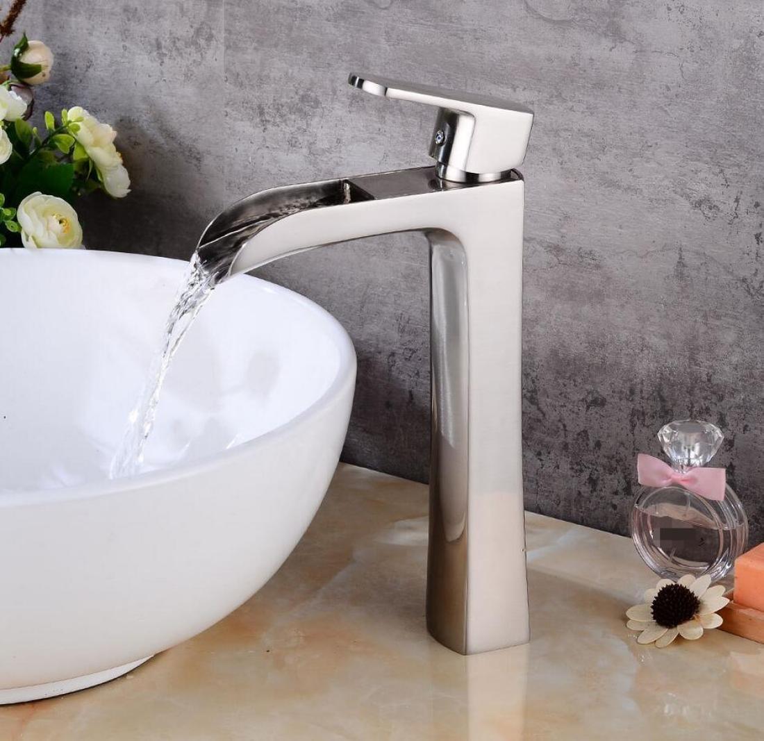 Gebürstetem Kupfer Waschbecken Wasserhahn Wasserfall Auslauf Einzigen Handgriff Moderner Stil Becken Waschbecken Schiff Bad Wasserhahn Mischbatterie Heißer und kalter wasserhahn