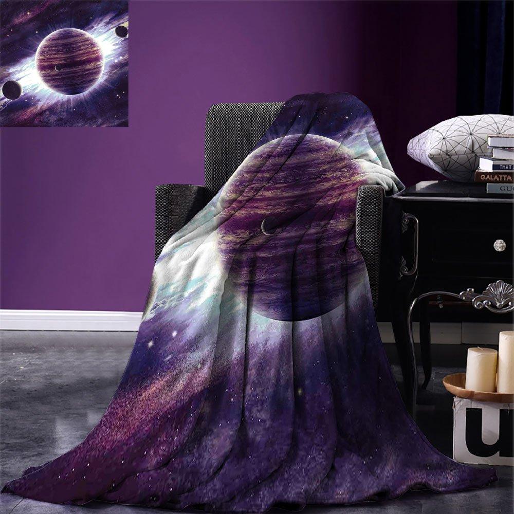smallbeefly Galaxy Custom Design Cozy Flannel Blanket Outer Space Theme Planets Saturn Mars Neptune Science Fiction Solar Scene Artprint Lightweight Blanket Extra Big Mauve Purple