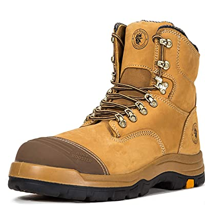 ROCKROOSTER Work Boots for Men, Steel Toe, 8 inch Safety Leather Shoes, Slip Resistant Industrial Boot, Static Dissipative, Breathable, Quick Dry, Anti-Fatigue(AK232 11) | Industrial & Construction Boots