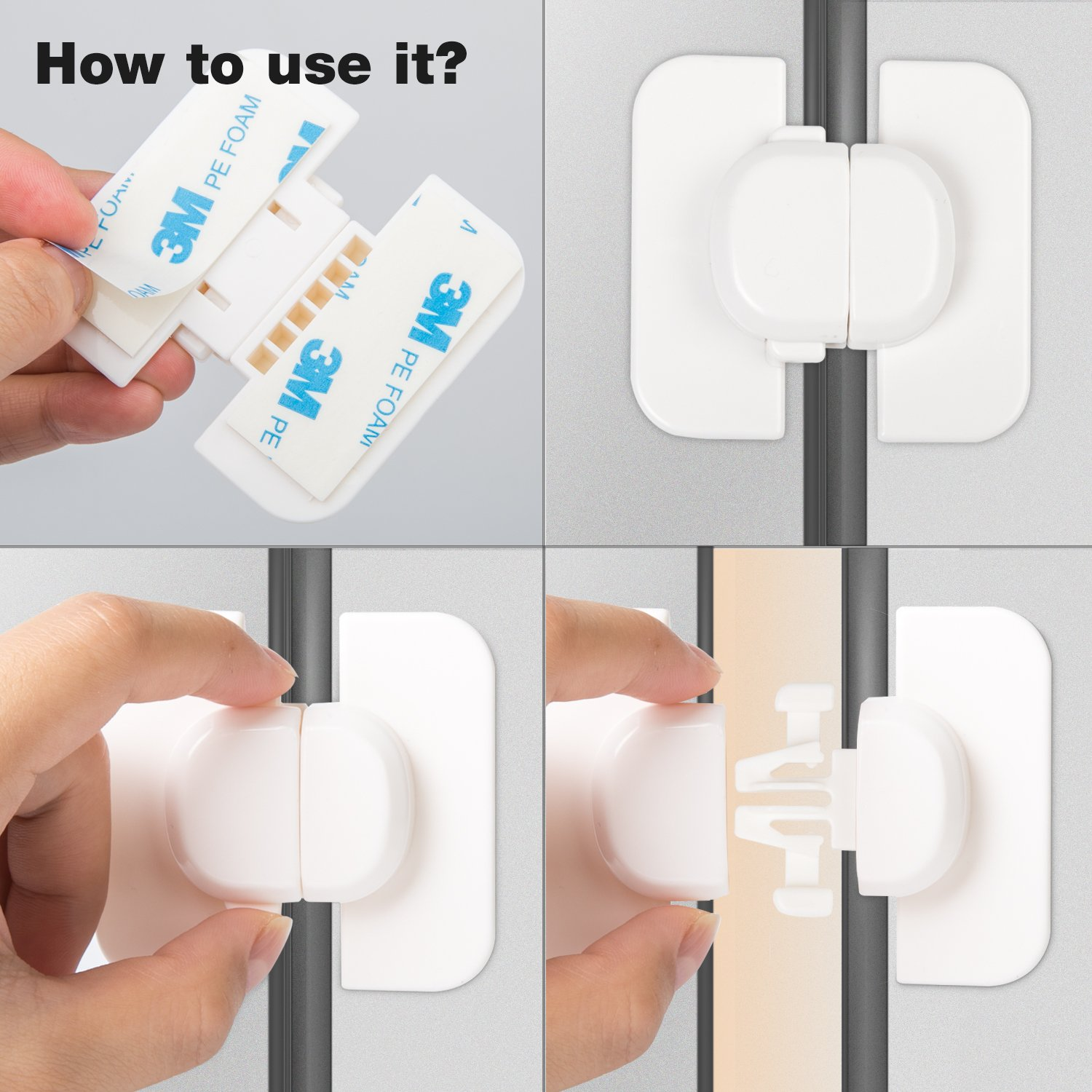 veecom Child Safety Locks for Refrigerators Doors Cabinet Drawers 6 Pack Baby Proof Locks (Upgrade) by veecom (Image #4)