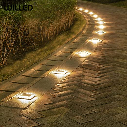 Escalera escalonada Cubo de luz solar led lámpara de jardín exterior Luces impermeables Pared subterránea Iluminación empotrada Pasos carga de estuche resistente-Blanco cálido: Amazon.es: Iluminación