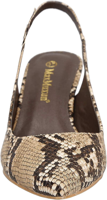 Greatonu Womens Pointed Toe Slingback Dress Court Shoes Brown Snake Print
