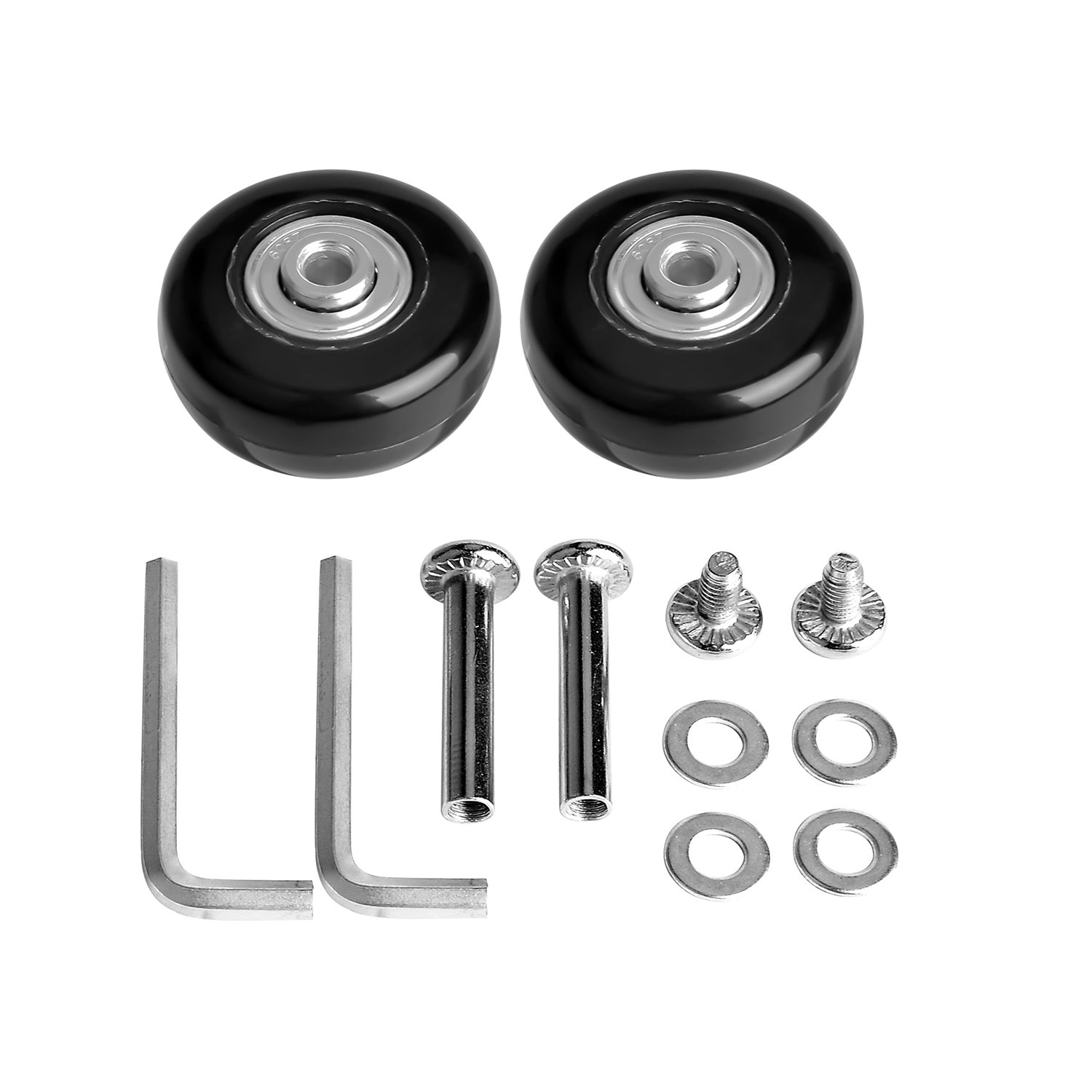 Inline Outdoor Skate Replacement Wheels with Multi Colors/&Sizes One Set of 2 or 4 Wheels F-ber Luggage Suitcase Wheels with ABEC 608zz Bearings
