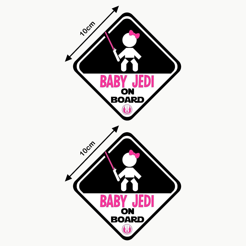 Autodomy Pegatinas Baby Jedi Ni/ña Star Wars Baby On Board Beb/é a Bordo Baby in Car Pack 2 Unidades para Coche Uso Interno