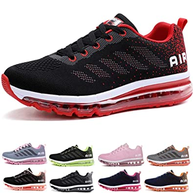 2871e07c5a029 frysen Herren Damen Sportschuhe Laufschuhe mit Luftpolster Turnschuhe  Profilsohle Sneakers Leichte Schuhe Black Red 34