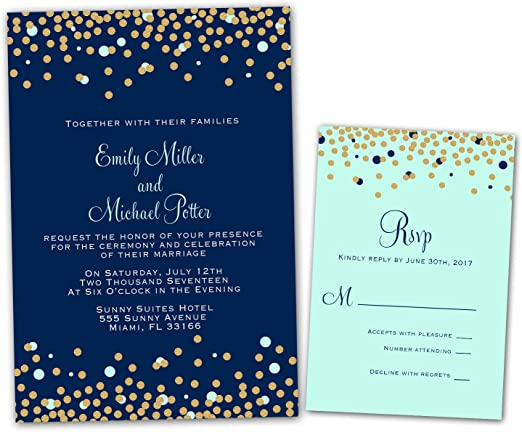 Amazon Com 100 Wedding Invitations Navy Blue Mint Green Gold