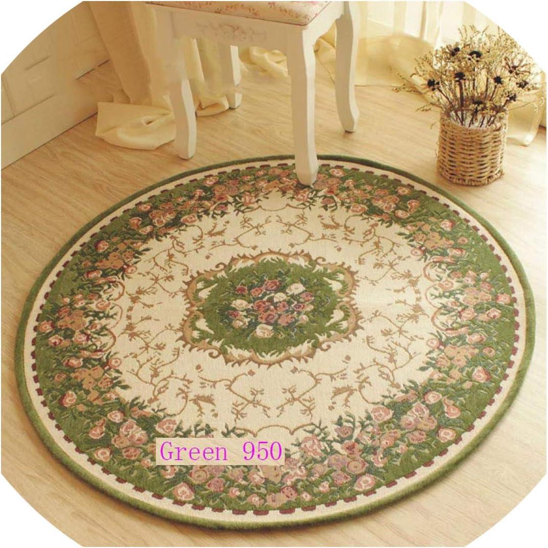 European-Style Garden Flowers Jacquard Carpet,Round Mats,Rugs Home Room,Carpets for Living Room,Green 950,Diameter 80Cm