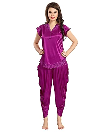 bd3164aed8 shiny satin patiala violet night suit XS size  Amazon.in  Clothing ...