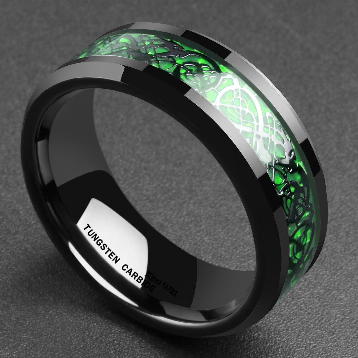 King Will Dragon Mens 5mm//8mm Green Carbon Fiber Black Celtic Dragon Tungsten Carbide Ring