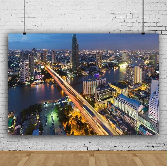 7x5ft Beautiful Modern City Night View Vinyl Photography Background Urban Overpass Skyscrapers Backdrop Skyline River Travel Theme Photo Shoot Film Video Studio Postcard Thailand Bangkok