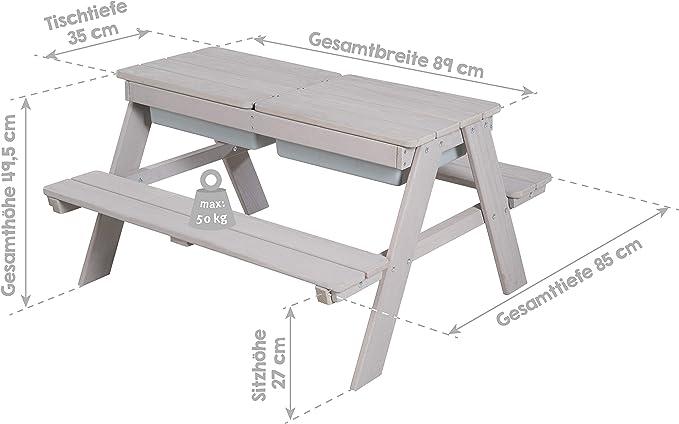 piano del tavolo rimovibile e 2 vasche in plastica roba 456002GA grigio Set per bambini Outdoor Deluxe con vasca da gioco