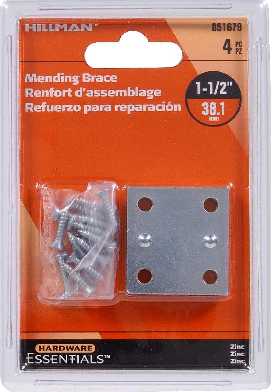 Hillman Hardware Essentials 851679 Mending Brace Zinc 1 1 2 x 1 3 8 4 pack