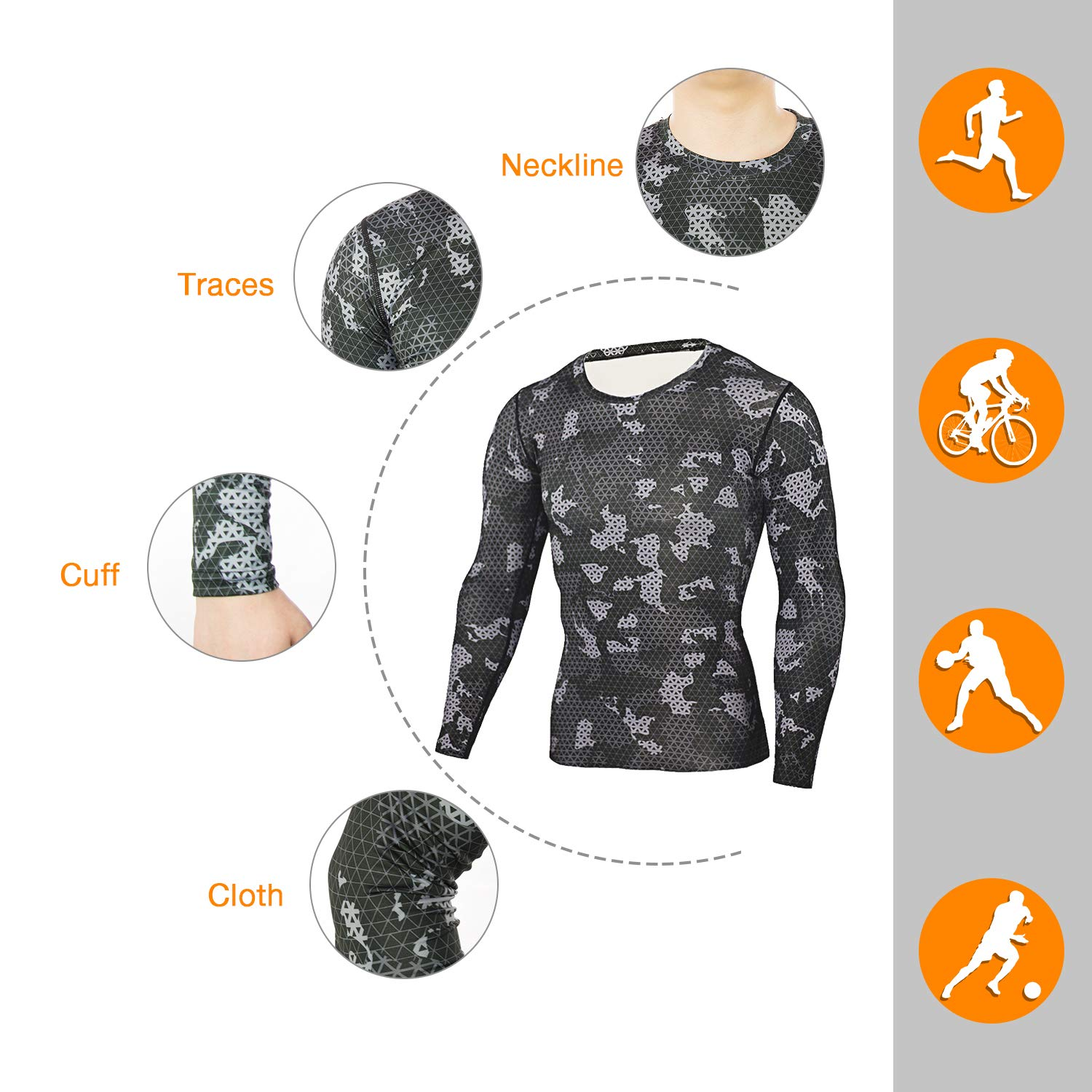 iCKER Base Layer Top Mens /& Boys Wicking Quick Dry Lightweight Sport Compression Tee Long Sleeve Shirt