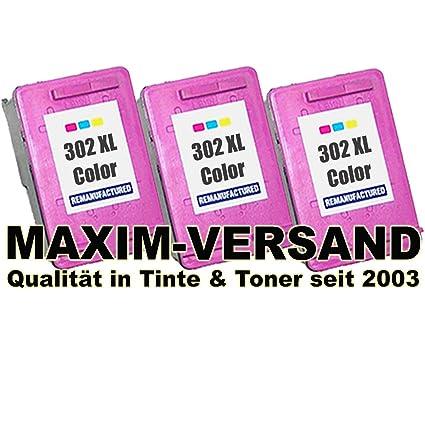 3 Set de cartuchos de tinta XXL para HP 302 XL 3 colores/Tri ...