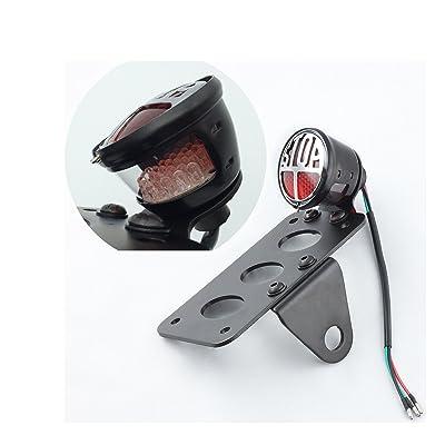 """Stop"" LED Side Mount License Plate Bracket Brake Taillight for Harley Sporster Bobber Choppers (Black-1)"