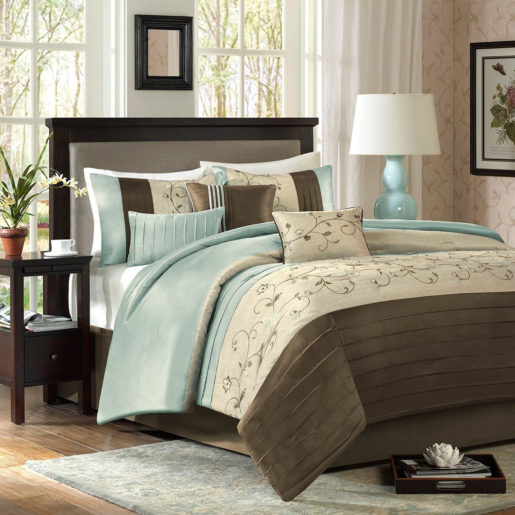 Madison Park Serene 7 Piece Comforter Set Size: Queen Blue