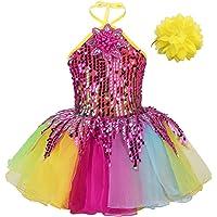 IEFIEL Vestido de Patinaje Artistico Disfraz Bailarina Niña Vestido Lentejuelas de Gimnasia Ritmica Vestido Tutú…