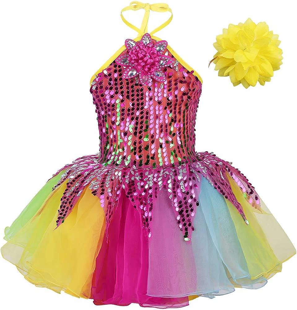 IEFIEL Disfraz Bailarina Niña Lentejuelas Fiesta Vestido de Danza Flores Traje de Ballet Princesa Maillot Tutú Ropa para Baile Actuación Competición ...
