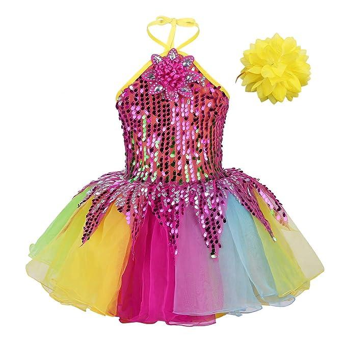 992144d00 IEFIEL Disfraz Bailarina Niña Lentejuelas Fiesta Vestido de Danza Flores  Traje de Ballet Princesa Maillot Tutú Ropa para Baile Actuación ...