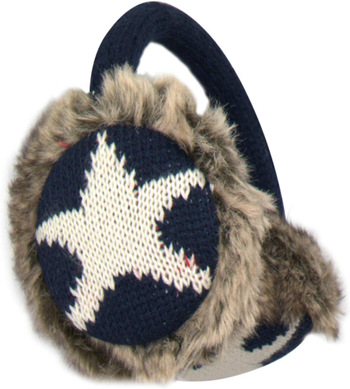 Unisex USA Star Design Warm Knit Earmuffs