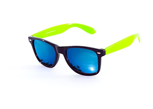 7a36a7ae6ee Image Unavailable. Image not available for. Colour  Wayfarer Sunglasses  With Neon Green Arms   Blue Mirror Lens Designer Style New