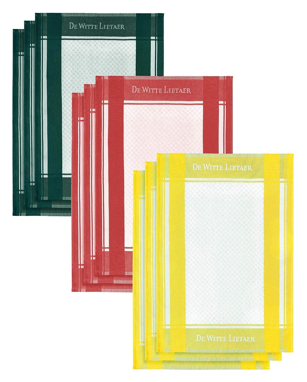 100/% Coton De Witte Lietaer DWL Torchons 6//50x70 cm Lot de 6 avec 3 Couleurs Assorties