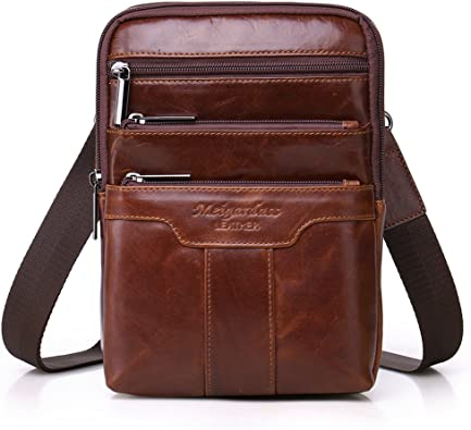 Vintage Genuine Leather Shoulder Cross Body Bag Small Men Women Fanny Cellphone