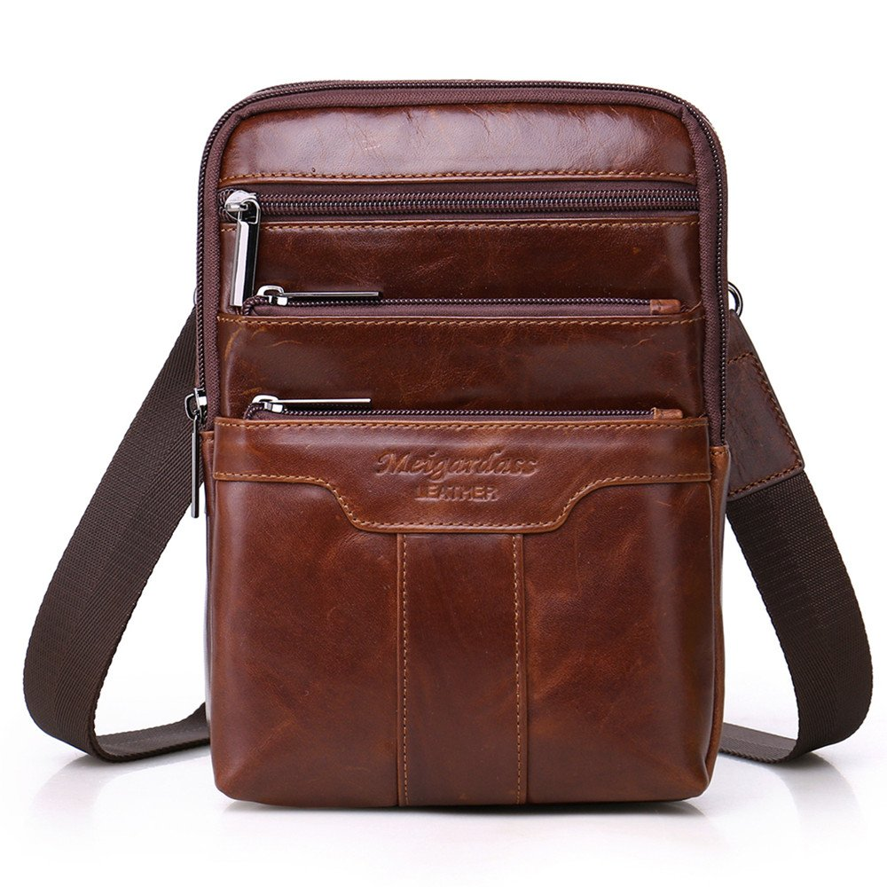 Langzu Men's Genuine Leather Cowhide Vintage Messenger Bag Shoulder Bag Crossbody Bag