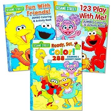 Sesame Street Coloring Book Super Set 3 Jumbo Books