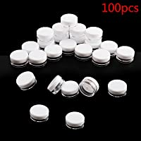 PetHot 100 Pcs Clear Plastic Small Sample Jar Pots Empty Travel Cosmetic Sample Containers Round Mini Glitter Nail Art Storage Tools