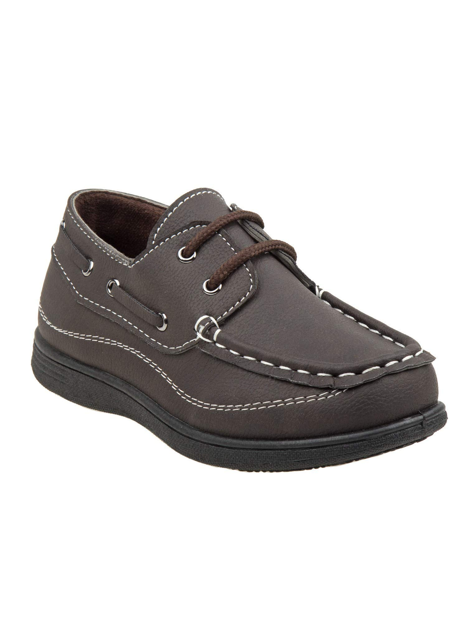 Josmo Little Boys Brown Stitching Detail Lace Closure Boat Shoes 8 Toddler