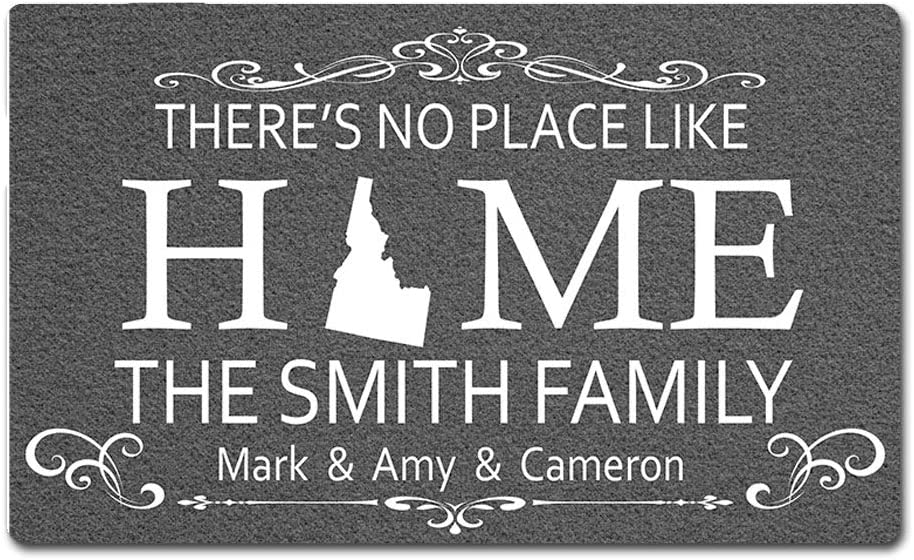 Eprocase Custom Personalized Doormat Rubber Backing Non-Slip Outdoor/Indoor Entrance Door Mat Home Decor Mat Floor Mats, 30 x 18 Inches, There's No Place Like Home - State Doormat - Idaho