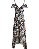 Huide boho summer beach dress mulheres ruffle flor do vintage print sexy longo dress dividir chiffon