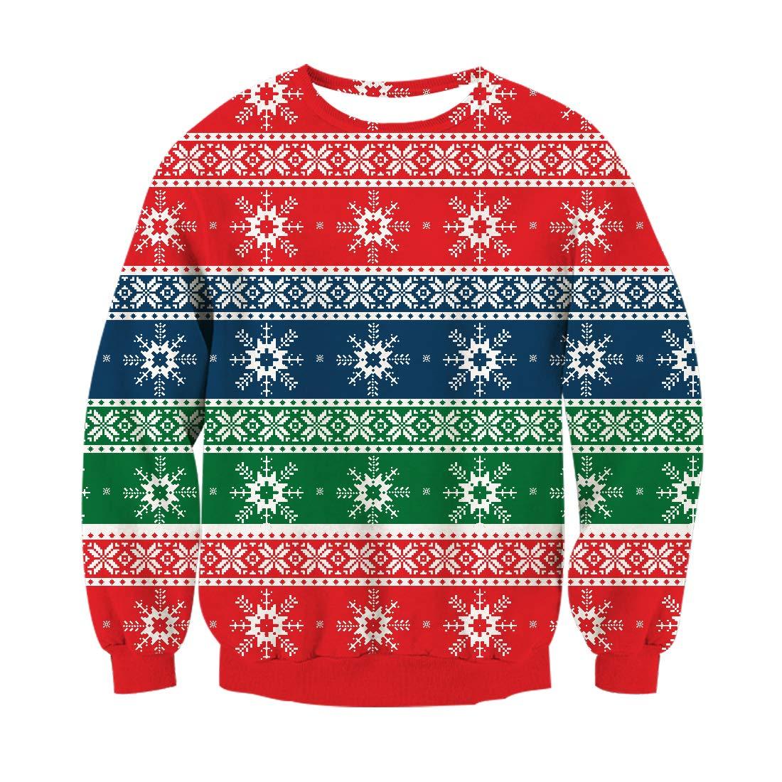 RAISEVERN Herren Damen Unisex Pullover Weihnachten Xmas Neuheit Retro Langarm Pullover Fairisle Sweater, Snowflake