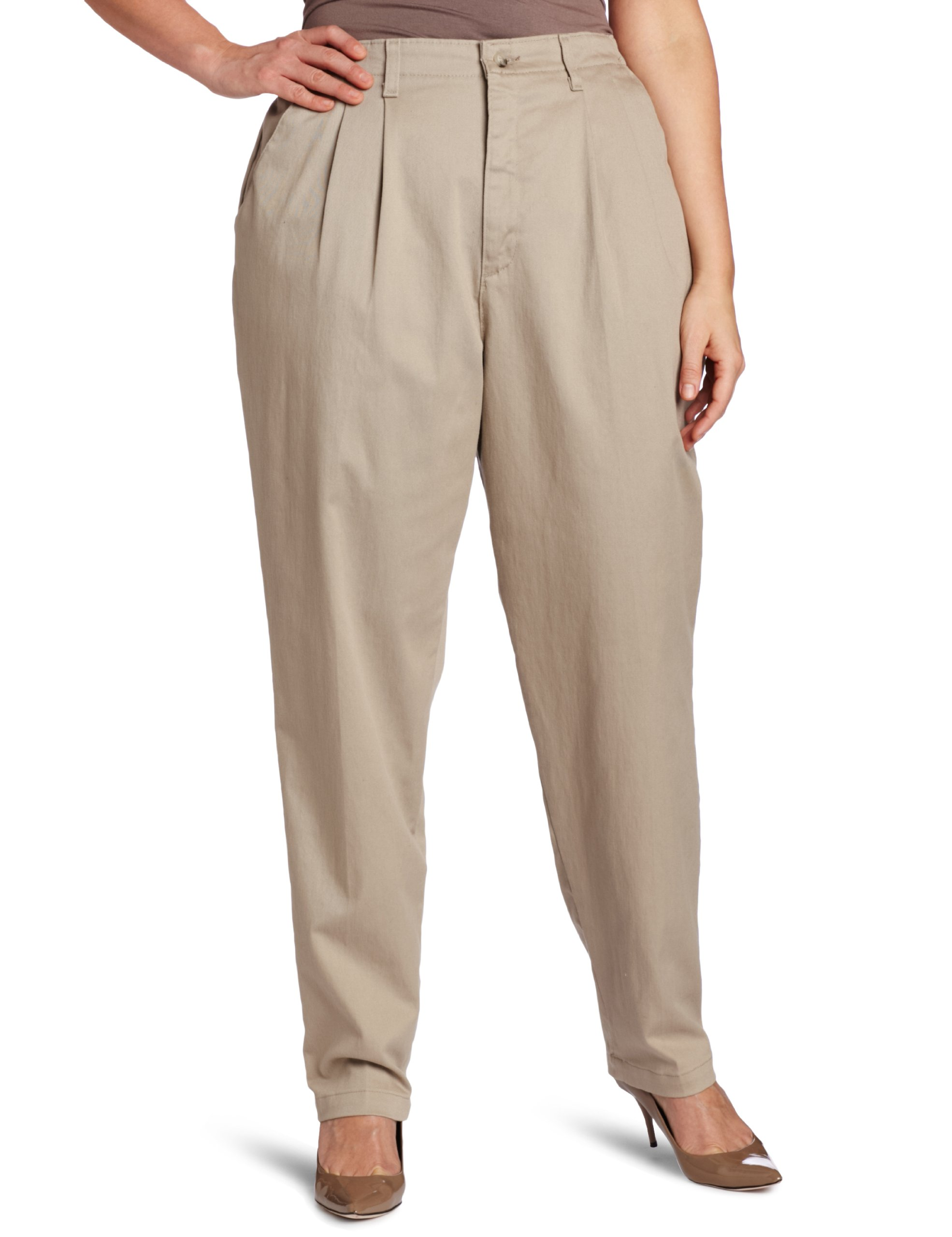 LEE Women's Plus-Size Relaxed Fit Side Elastic Pant, Taupe, 18W Petite