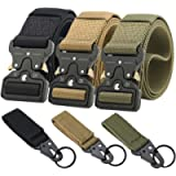 Ginwee 3-Pack Tactical Belt,Military Style Belt, Riggers Belts for Men, Heavy-Duty Quick-Release Metal Buckle with Extra…