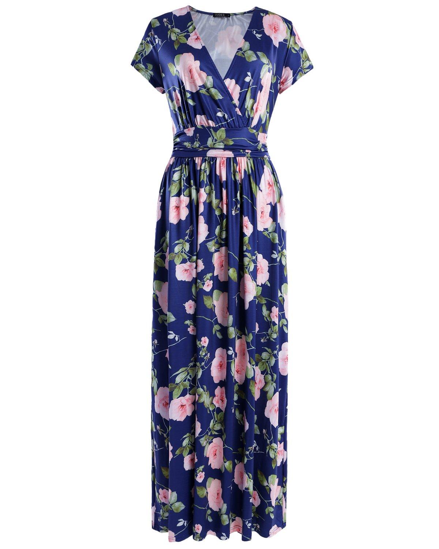 OUGES Women's V-Neck Pattern Pocket Maxi Long Dress(Floral-03,M)