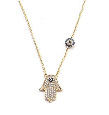Necklace with Pendant Hamsa Hand of Fatima Evil Eye Turkish Nazar