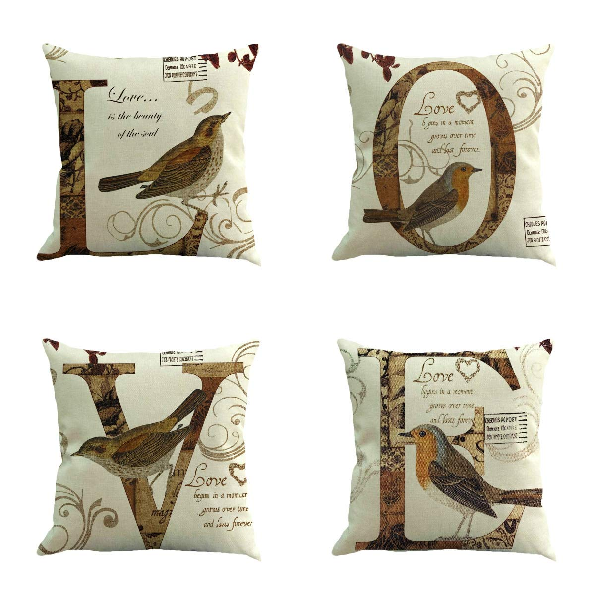 QISHOP Throw Pillow Covers - Linen Cotton Blend Decorative Design Zippered for Couch 18x18 Inch Pack of 4 (Love)