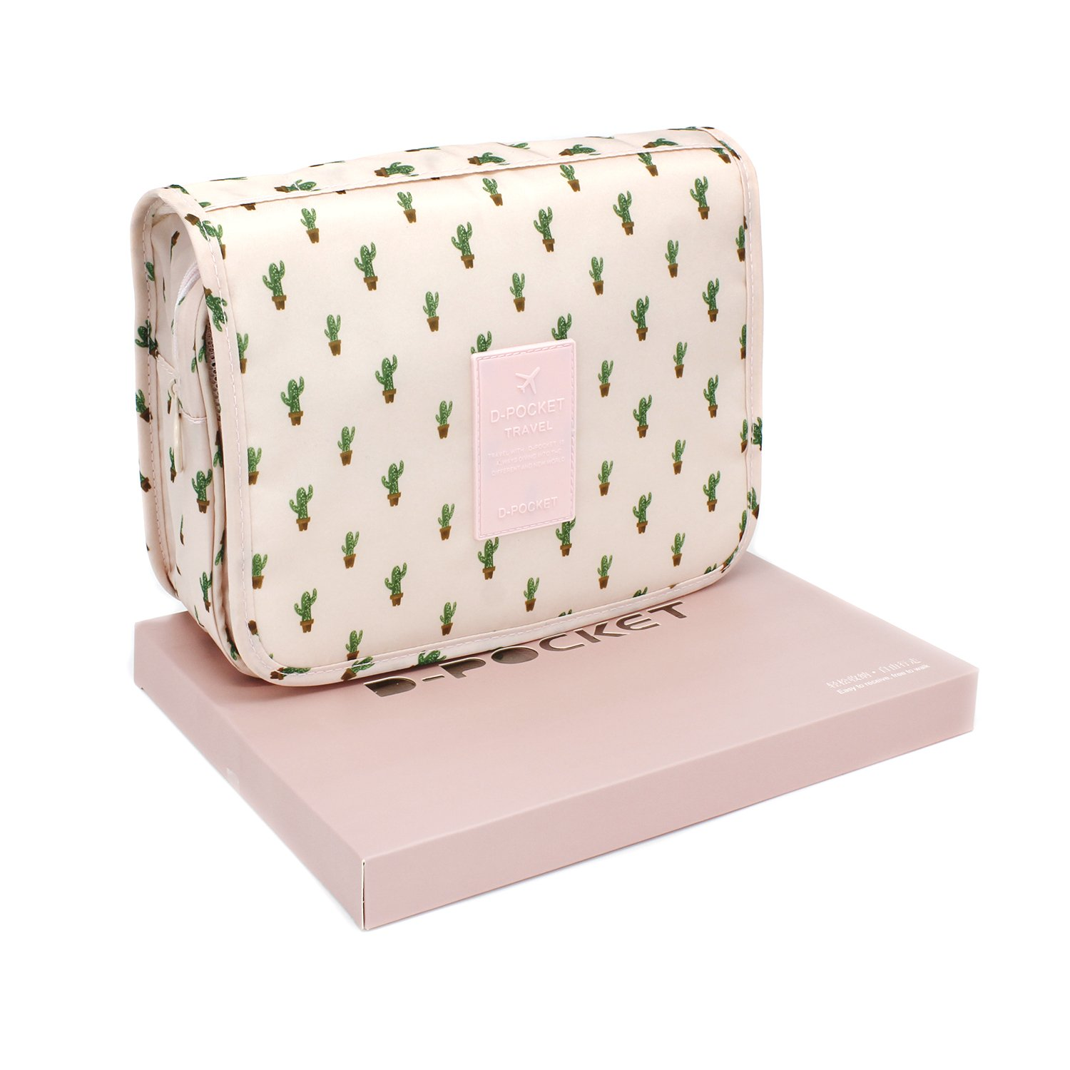 Hanging Toiletry Bag,Travel Cosmetic Organizer,Hanging Toiletry Kit for Women and Men (Cactus)