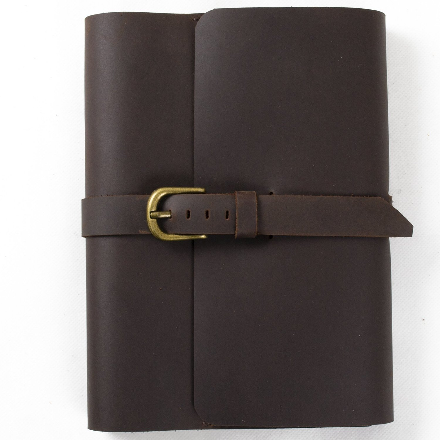 Genuine Leather Handmade Diary Journal Notebook Sketchbook Classic Refillable Composition Book Cover with Strap Buckle - (Dark Brown & Lined Craft Paper A5 )