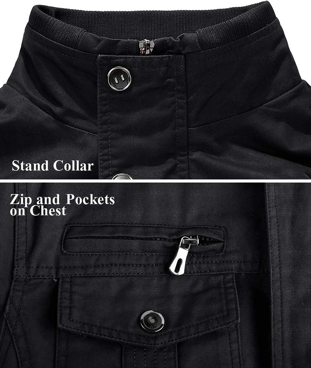 MINITOO Herren Pocket Zip Fashion 100/% Baumwolle Outdoor Leichte Jacken