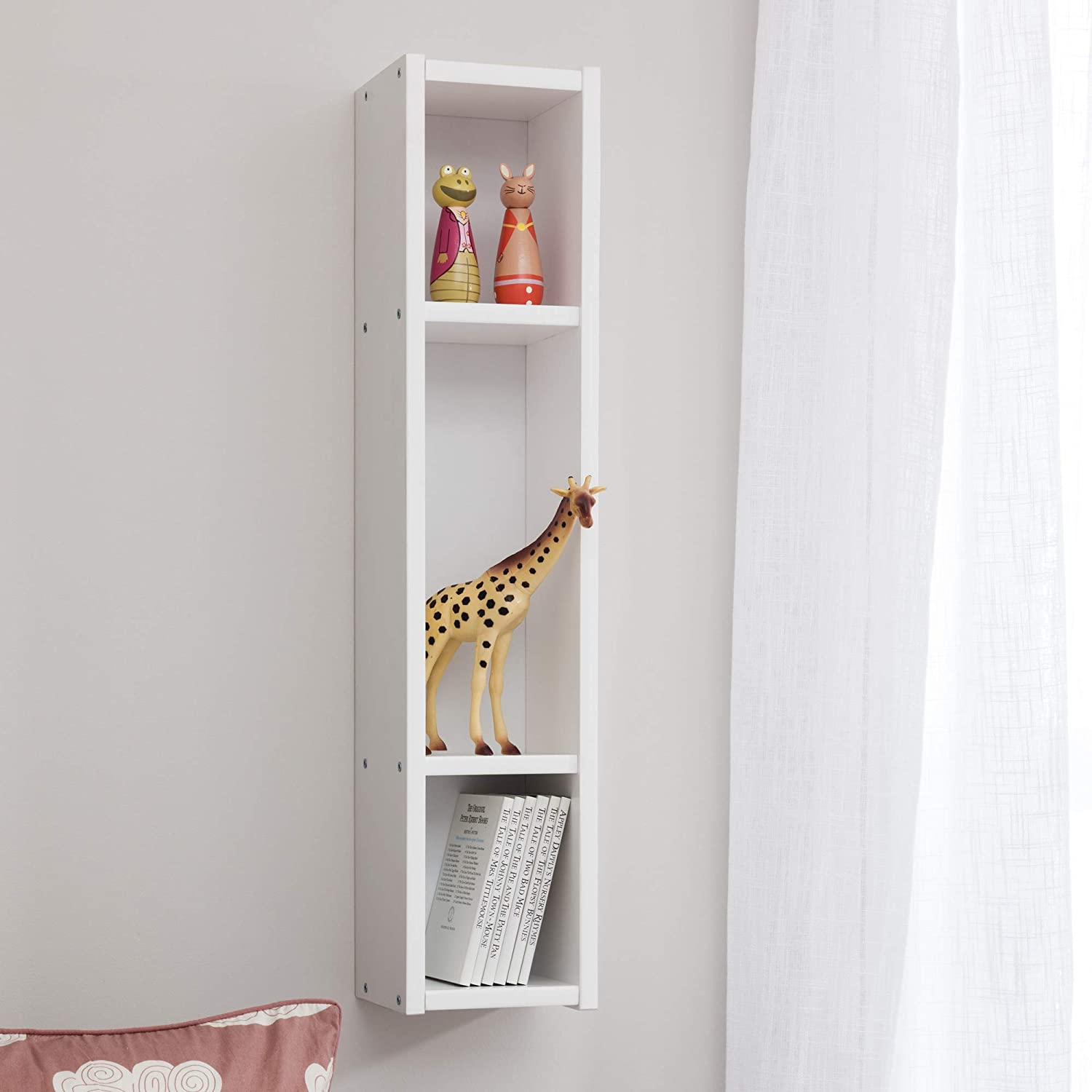 Childrens High Quality Bedroom Furniture for Baby Toddler Junior Wall Mounted Shelf for Books and Accessories Kids Wooden Modern White Wall Shelve by Leomark