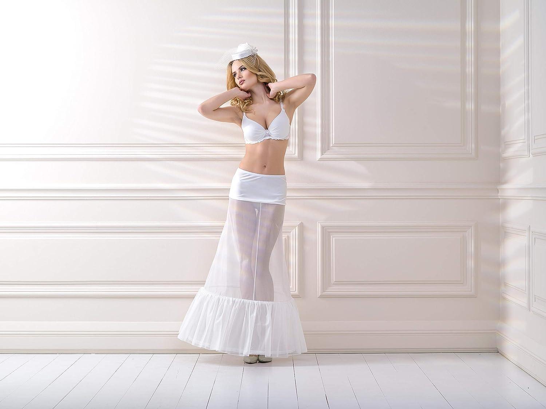 Lacey Bell Women Wedding Two Hooped Petticoat Underskirt Half Slips Elastic Waist Band R2-320