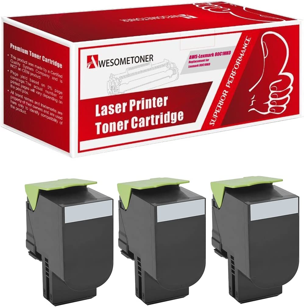 CX410e CX410dte Awesometoner/Remanufactured/Made in USA High Yield Toner/Cartridge/Replacement/for/Lexmark 80C1HK0 80C0H10 80C0HKG 800H1 800HKG 801HK use/with/CX-410 CX510 Black, 3-Pack