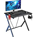 """Mr IRONSTONE 31.5"""" Gaming Desk PC Computer Desk Home Office Student Table for Small Space with Cup Holder, Headphone…"""