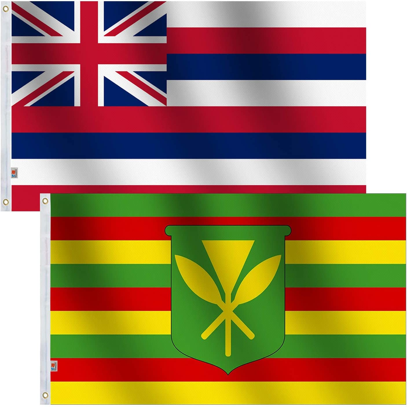 2Pack Set State Hawaii & Kanaka Maoli Flag 3x5 Ft Large , Both Sides 100D Polyester For moderate-outdoor&indoor,Canvas Header Brass Grommets for Easy Display, 3' x 5' Kamehameha Hawaiian Flags